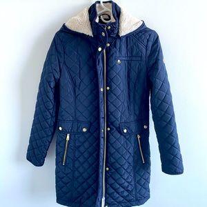 Navy Blue Quilted Ralph Lauren Coat (S)
